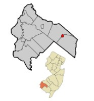 Elmer NJ in Salem County map