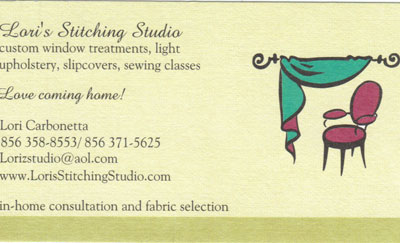 Loris Stitching Studio 2016 directory ad - Business Cards 1