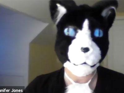 Video cover of Jennifer Jones dressed as a cat