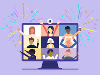 Cartoon of monitor split with 9 people split on screen